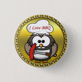 Great horn owl with BBQ in hand and a gold frame Pinback Button