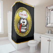 Great horn owl with BBQ in hand and a gold frame Shower Curtain