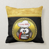Great horn owl with BBQ in hand and a gold frame Throw Pillow