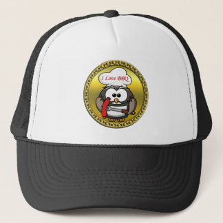 Great horn owl with BBQ in hand and a gold frame Trucker Hat