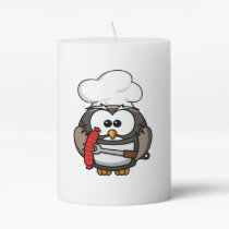 Great horn owl with BBQ in hand Pillar Candle