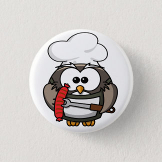 Great horn owl with BBQ in hand Pinback Button