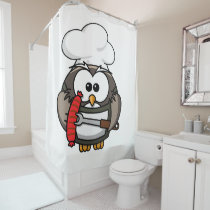 Great horn owl with BBQ in hand Shower Curtain