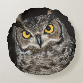 Great Horned Owl  2 Round Pillow