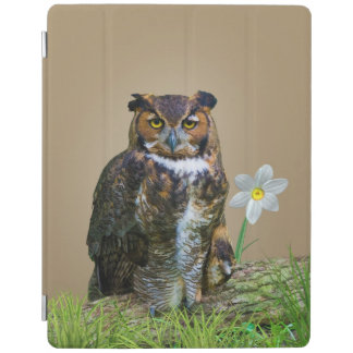 Great Horned Owl and Flower iPad Cover