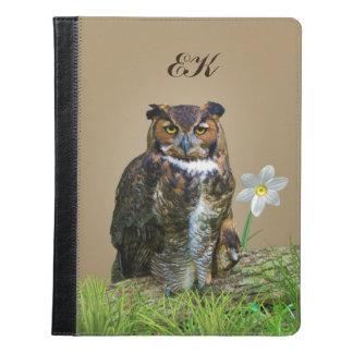 Great Horned Owl and Flower, Monogram