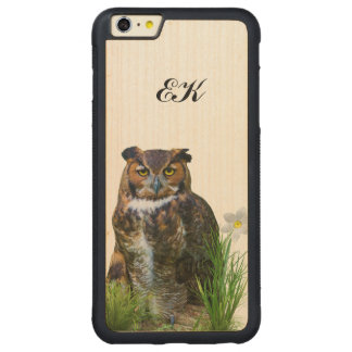 Great Horned Owl and Flower, Monogram Carved® Maple iPhone 6 Plus Bumper Case