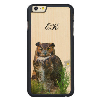Great Horned Owl and Flower, Monogram Carved® Maple iPhone 6 Plus Slim Case