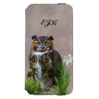 Great Horned Owl and Flower, Monogram iPhone 6/6s Wallet Case