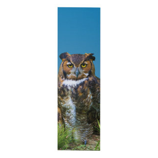 Great Horned Owl and Flower Panel Wall Art