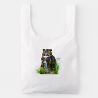 Great Horned Owl and Flower Reusable Bag