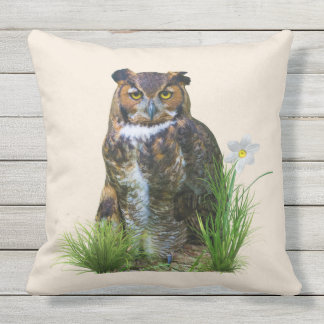 Great Horned Owl and Flower Throw Pillow
