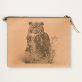 Great Horned Owl and Flower Travel Pouch