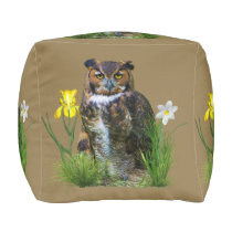 Great Horned Owl and Flowers Pouf