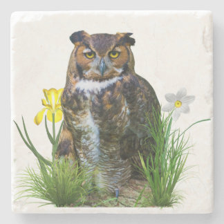 Great Horned Owl and Flowers Stone Coaster