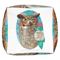 Great Horned Owl and Magnolia Blossom Pouf