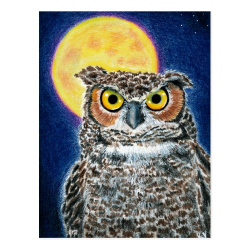 Great Horned Owl and Moon postcard