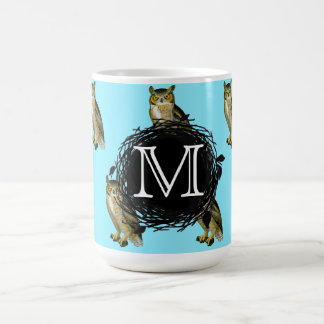 Great Horned Owl Blue Pattern Monogram Coffee Mug