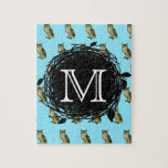 Great Horned Owl Blue Pattern Monogram Puzzles