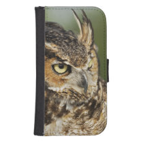 Great Horned Owl, Bubo virginianus, Captive Samsung S4 Wallet Case