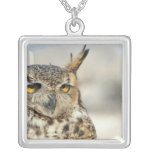Great Horned Owl (Bubo virginianus), captive Square Pendant Necklace
