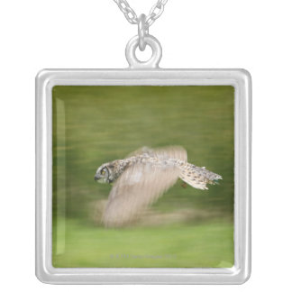 Great Horned Owl (Bubo virginianus) Silver Plated Necklace