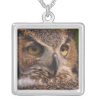 Great Horned Owl, Bubo virginianus Silver Plated Necklace