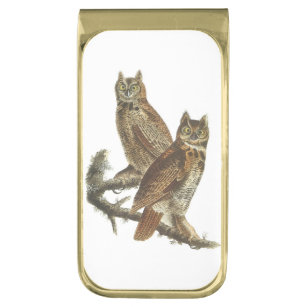 Great Horned Owl by Audubon Gold Finish Money Clip
