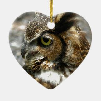 Great-horned owl ceramic ornament