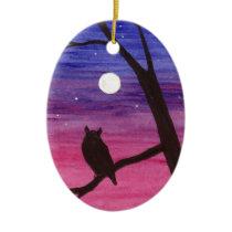 Great Horned Owl Ceramic Ornament