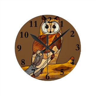 Great Horned Owl Round Wallclocks
