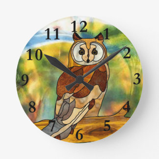 Great Horned Owl Round Wall Clocks