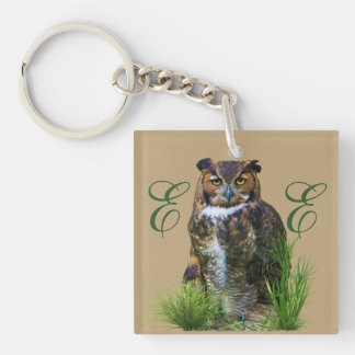 Great Horned Owl Customizable Double-Sided Square Acrylic Keychain