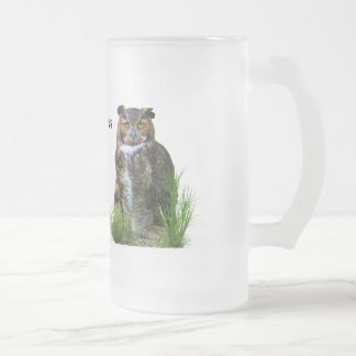 Great Horned Owl Customizable Frosted Glass Beer Mug