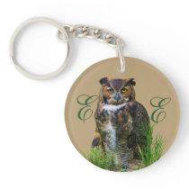 Great Horned Owl Customizable Keychain