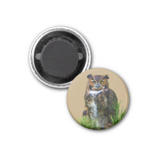 Great Horned Owl Customizable 1 Inch Round Magnet