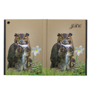 Great Horned Owl Customizable Monogram Cover For iPad Air