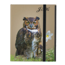 Great Horned Owl Customizable Monogram iPad Cover