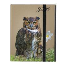 Great Horned Owl Customizable Monogram iPad Folio Case
