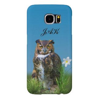Great Horned Owl Customizable Monogram Samsung Galaxy S6 Case