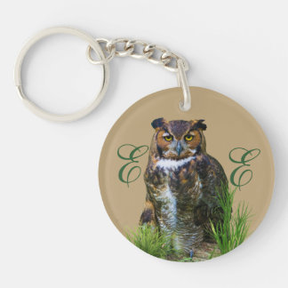 Great Horned Owl Customizable Single-Sided Round Acrylic Keychain