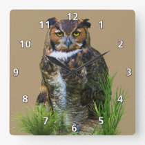 Great Horned Owl Customizable Square Wall Clock