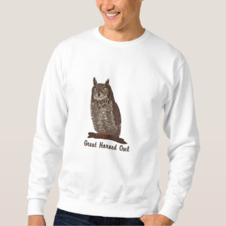 Great Horned Owl Cutomizable Emrboidred Sweatshirt