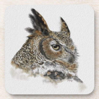 Great Horned Owl Drawing Beverage Coaster