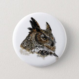 Great Horned Owl Drawing Pinback Button