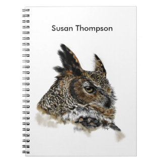 Great Horned Owl Drawing Spiral Notebook