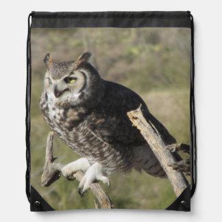 Great Horned Owl Drawstring Backpack