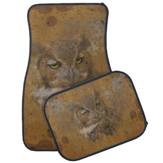 Great Horned Owl Faded on Old Wood Car Mat
