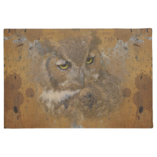 Great Horned Owl Faded on Old Wood Doormat