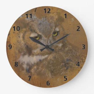 Great Horned Owl Faded on Old Wood Large Clock